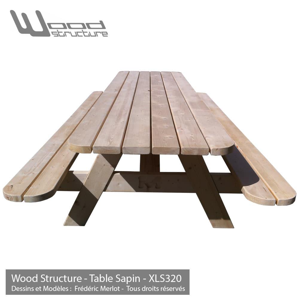 table pique nique xl table de jardin wood structure. Black Bedroom Furniture Sets. Home Design Ideas