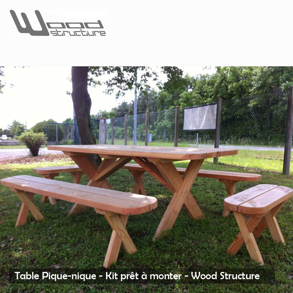 Table pique nique banc table de jardin wood structure - Plan de table de pique nique ...