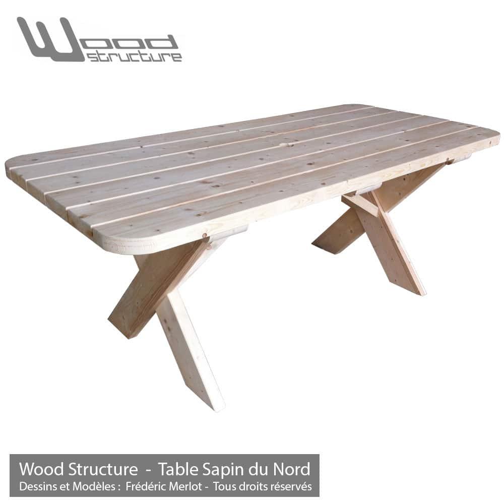 Table bois wood structure for La table du jardin