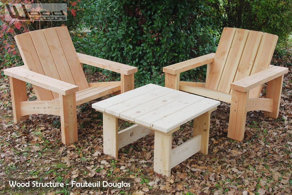 Salon de jardin en sapin douglas design wood structure - Plan pour fabriquer table forestiere ...
