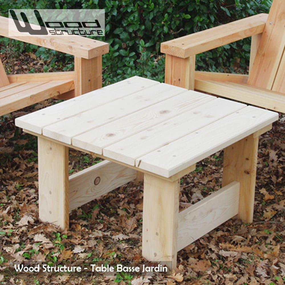 Table basse en sapin du nord table de jardin wood structure - Table basse de jardin ...