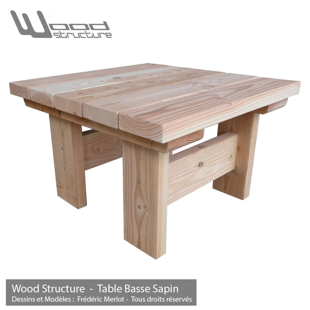 Table basse en sapin du nord table de jardin wood structure - Table de jardin qualite le mans ...