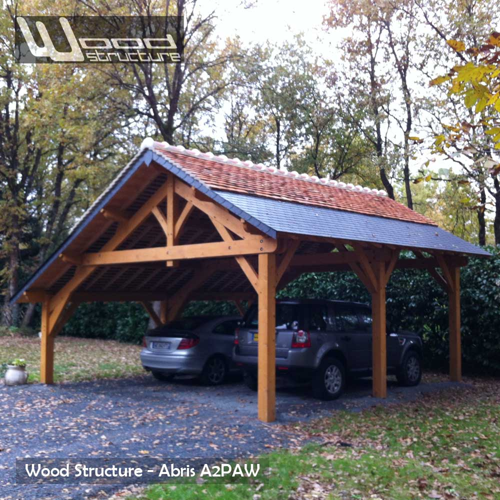Abris 2 pans asym trique charpente bois wood structure for Garage en bois en solde