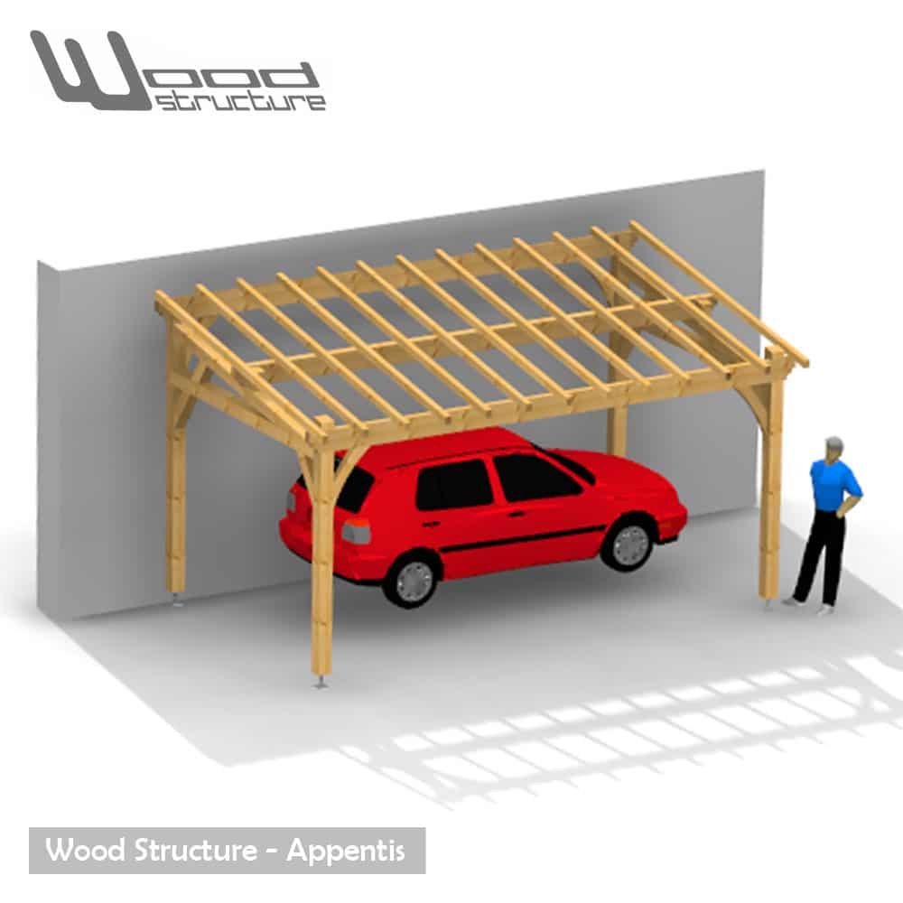 plan charpente garage 1 pan. Black Bedroom Furniture Sets. Home Design Ideas
