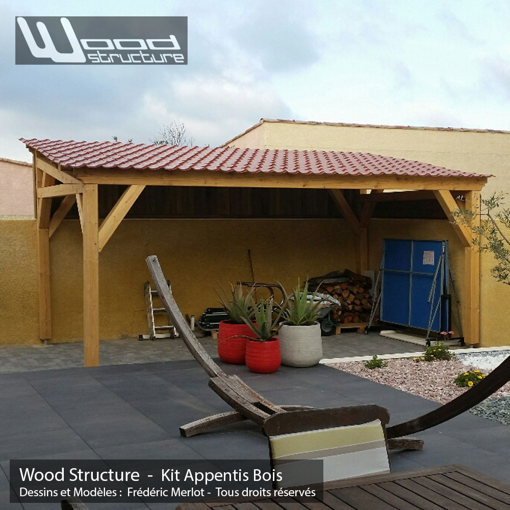 Appentis 1 pan l wood structure for Fabricant garage bois en kit
