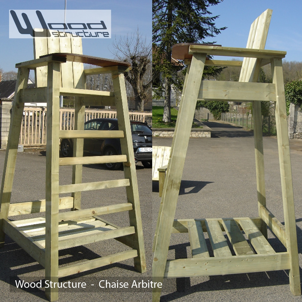 Chaise arbitre et joueurs wood structure for Chaise arbitre tennis