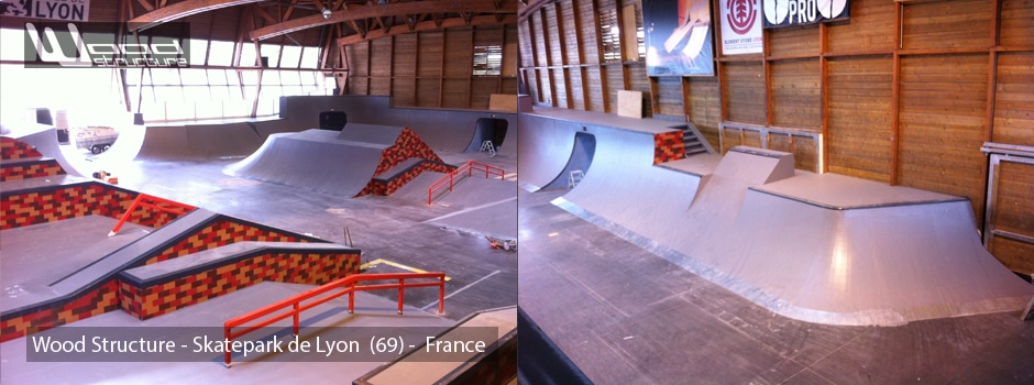 skatepark de lyon gerland wood structure skatepark. Black Bedroom Furniture Sets. Home Design Ideas