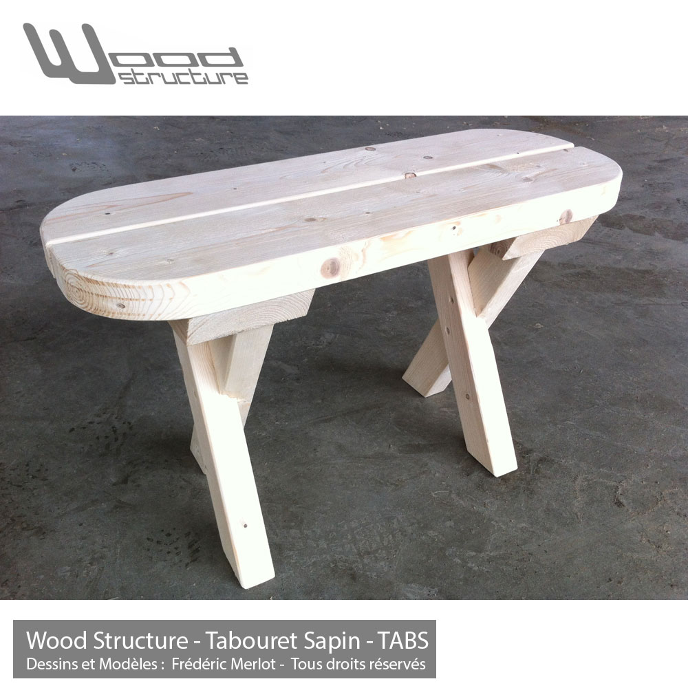 Tabouret bois wood structure for La table du jardin