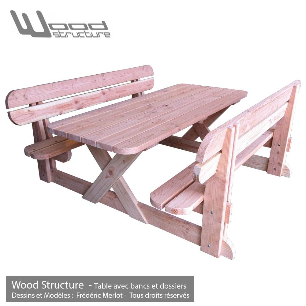Table Avec Bancs Et Dossiers Table De Jardin Wood