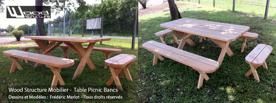 Table Avec Bancs Douglas Wood Structure