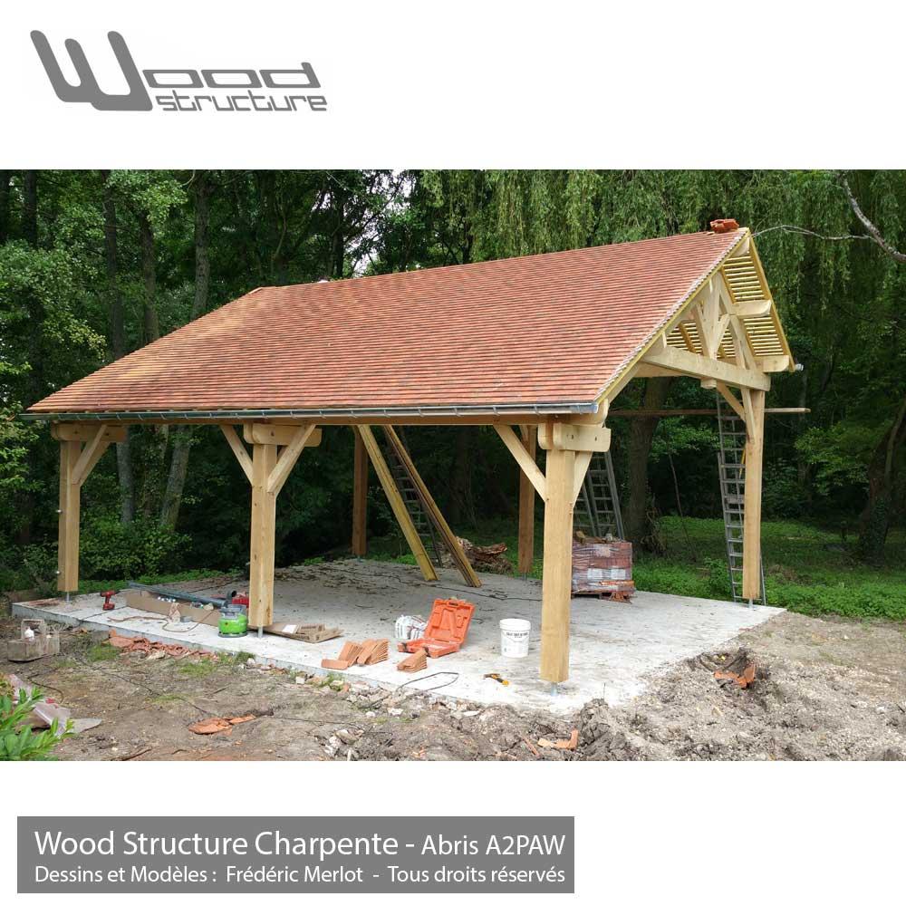 Abris 2 pans asym trique charpente bois wood structure for Abri de piscine ossature bois