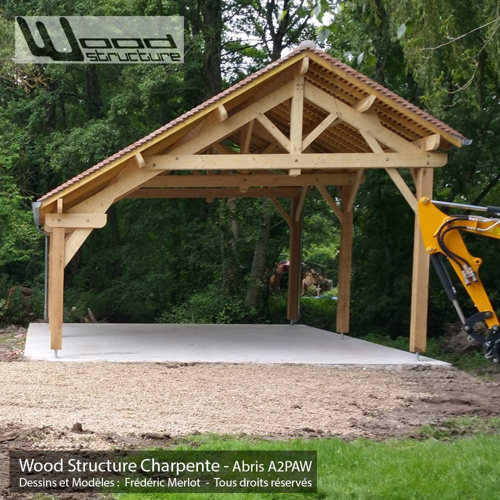 Charpente Bois En Kit Pour Garage : A2PAW – Charpente abris garage voiture – Wood Structure – Fabriqu? en
