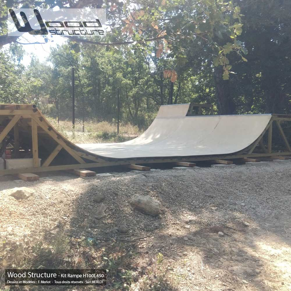 Rampe skate H100L450 - Kit mini rampe skate roller bmx trottinette - Kit prêt à monter - Wood Structure - Fabricant de Skatepark depuis 1990