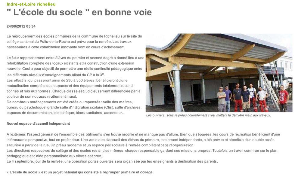 Préau en Charpente bois courbe - Ecole de Richelieu (37) - Sarl Merlot - Wood Structure