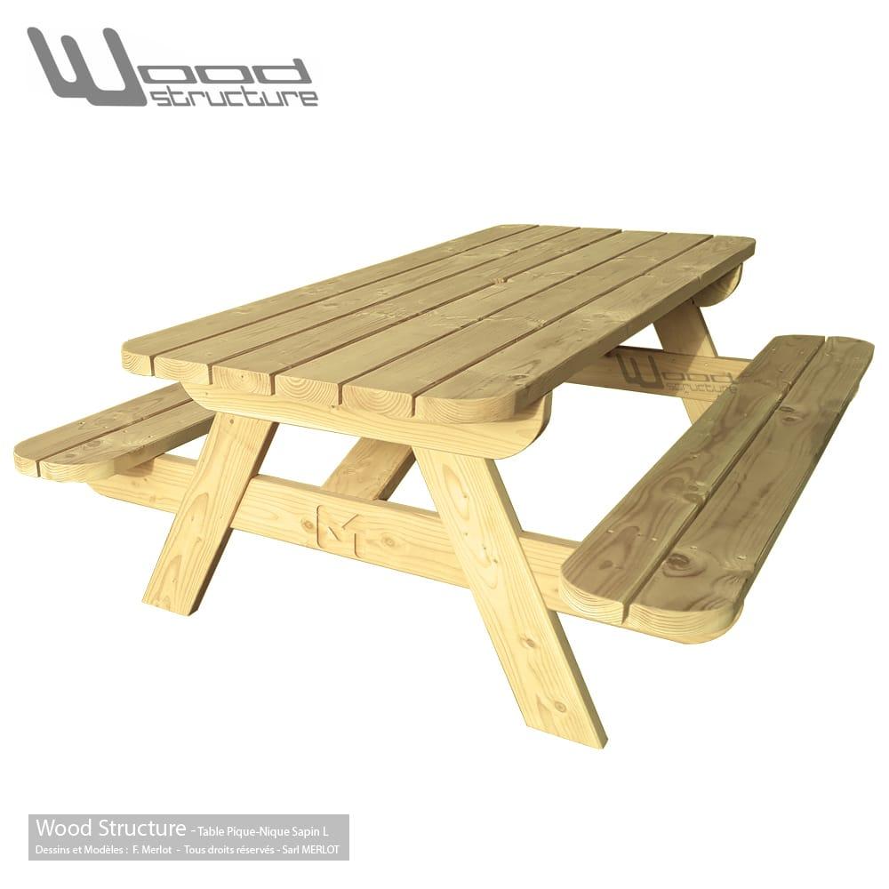 Table pique nique TLS220 Wood Structure Table picnic Solide et robuste fabriquée en France