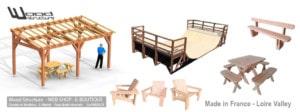 E-Boutique - Web Shop - Mobilier Bois - Fauteuil, banc, salon et Table de Jardin - Caillebotis pour terrasse bois - Charpente - Abri et appentis - Mirador - Kit Rampe Skate - WOOD STRUCTURE