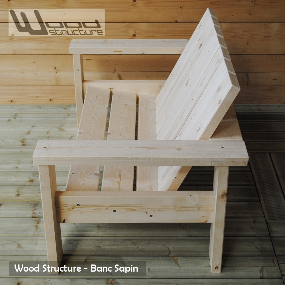 Banc sapin du nord banc de jardin wood structure for Plan de construction table de jardin en bois