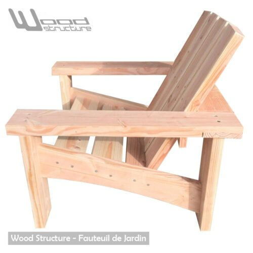 Fauteuil Douglas - Design Wood Structure - Fabriquée en France par la Sarl Merlot - Fauteuil Banc - Table - Mobilier bois et Salon de Jardin