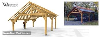 Kit Charpente bois - Ossature bois sur mesure - Garage - Appenti - Abri - Pergola - Veranda - Wood Structure - Richelieu - Indre et Loire - France
