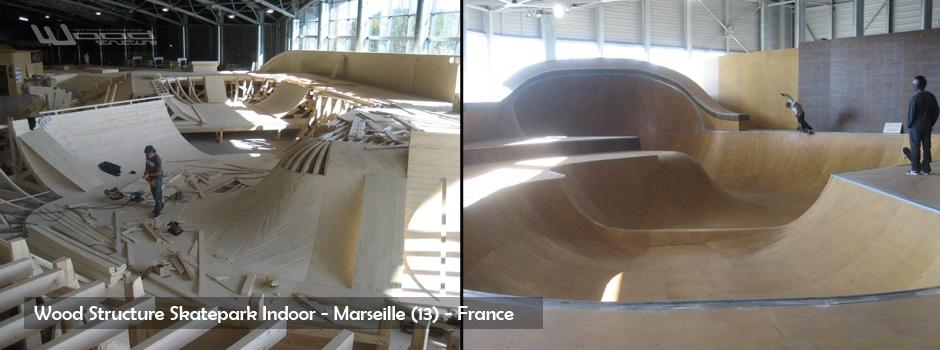 Bowl du Skatepark Indoor de Marseille - Bowl & Mini rampe skate park public - Wood Structure - fabricant de Skatepark depuis 1990