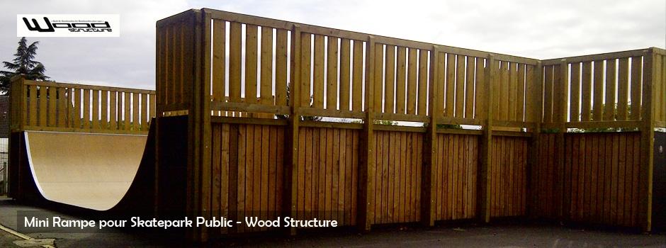 Mini rampe skate park public - Wood Structure - fabricant de Skatepark depuis 1990