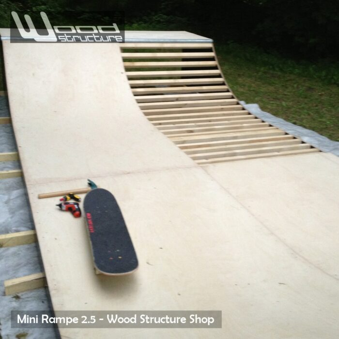 Rampe Skate - Design Wood Structure - Mini rampe fabriquée en France par la Sarl Merlot - Rampe livrée en kit - Module skate et rampe skate, roller, bmx, trottinette