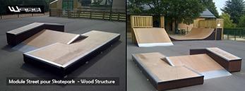 Fabricant de Skatepark depuis 1990 - Wood Structure - Module skate et aire de street pour particuliers et collectivités
