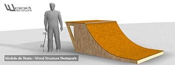 Module de Skate - Livré en kit avec fournitures et plan de montage - Wood Structure Skatepark - Richelieu - France