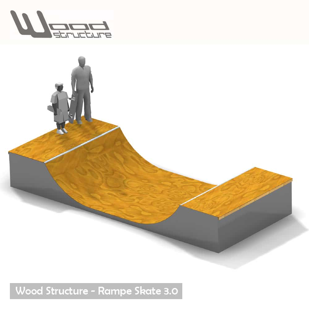 Rampe skate 3.0 - Kit mini rampe skate roller bmx trottinette - Kit prêt à monter - Wood Structure Skatepark