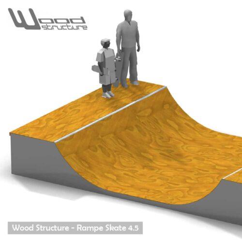 Rampe skate 4.5 - Kit mini rampe skate roller bmx trottinette - Kit prêt à monter - Wood Structure - Fabricant de Skatepark depuis 1990
