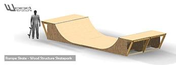 Rampe de Skate - Livrée en kit avec fournitures et plan de montage - Wood Structure Skatepark - Richelieu - France