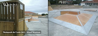 Skatepark de Contis - Module skate et rampe - Wood Structure - Fabricant de Skatepark depuis 1990