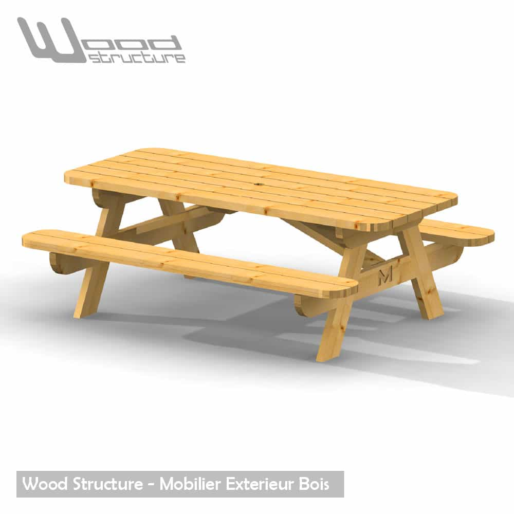 Table pique nique table de jardin wood structure for Table structure
