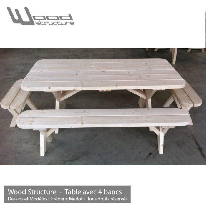 Table de pique-nique banc - table avec 4 bancs en sapin du nord - Fabriquée en France par la Sarl Merlot & Wood Structure - Fauteuil - Banc - Salon de Jardin