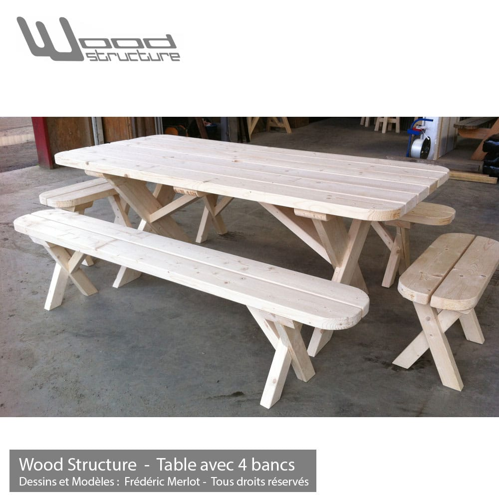 Banc de table sapin wood structure Table de jardin avec banc attenant