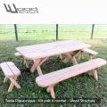 Table de pique-nique banc - table picnic banc en sapin du nord - Fabriquée en France par la Sarl Merlot & Wood Structure - Fauteuil - Banc - Salon de Jardin