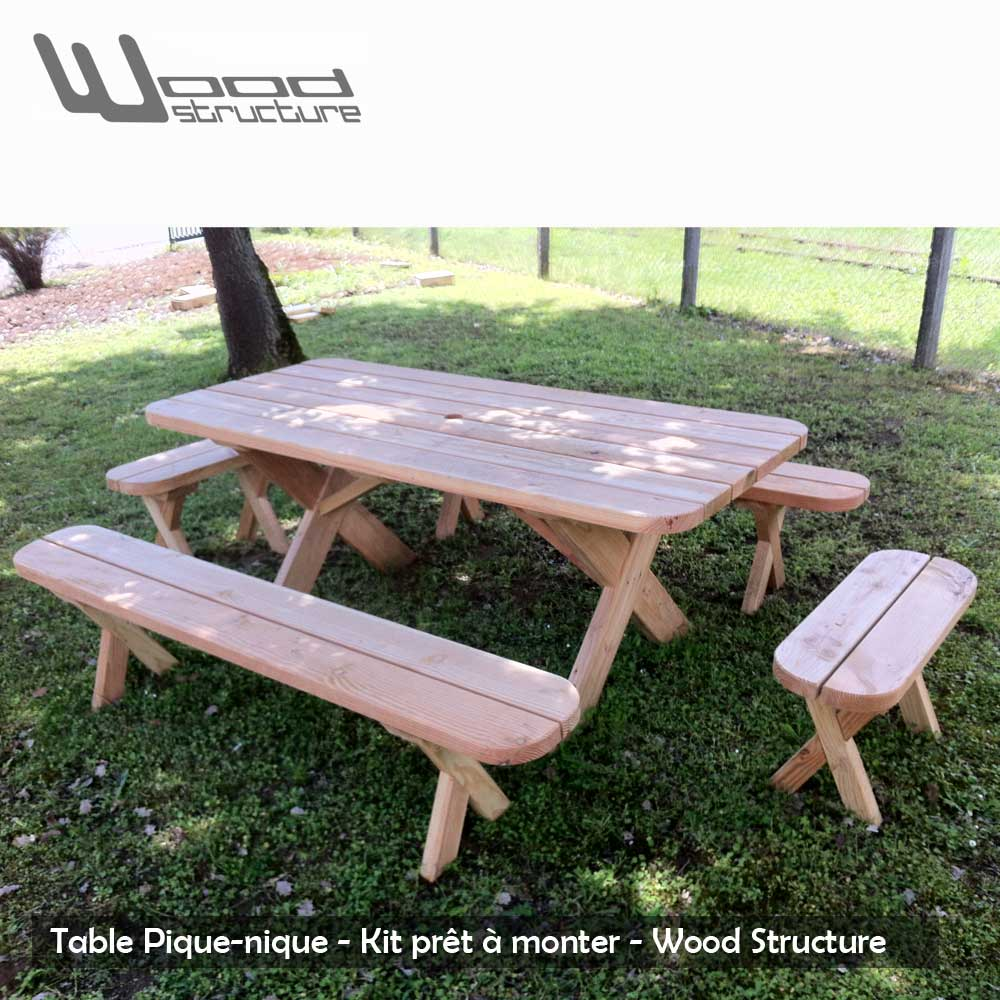Awesome table de jardin en bois en kit ideas odieardhia for Mobilier exterieur teck