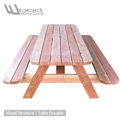 Table pique-nique LD - table picnic en sapin douglas - Fabriquée en France par la Sarl Merlot & Wood Structure - Fauteuil - Banc - Salon de Jardin