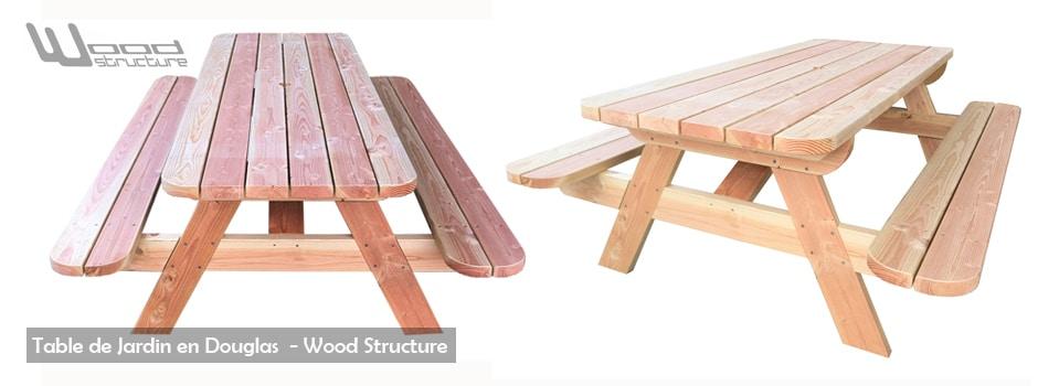 Mobilier de jardin - Table de pique-nique - Caillebotis - Sapin du Nord - Douglas et Autoclave - Wood Structure - Richelieu - France