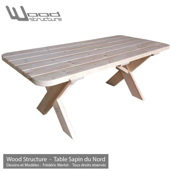 Table bois en sapin du nord - Salon de Jardin - Mobilier bois - Fabriquée en France par la Sarl Merlot & Wood Structure - Richelieu - France