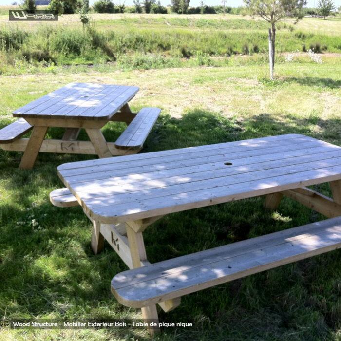 Table de pique-nique L - table picnic en sapin du nord - Fabriquée en France par la Sarl Merlot & Wood Structure - Fauteuil - Banc - Salon de Jardin