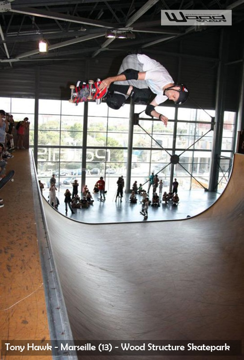 Tony Hawk - Skatepark indoor de Marseille - fabriqué par Wood Structure Skatepark