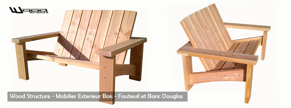 fauteuil et banc douglas design wood structure. Black Bedroom Furniture Sets. Home Design Ideas