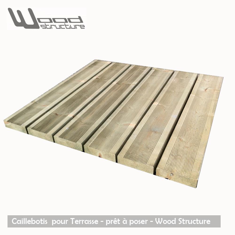 Caillebotis Bois pour Terrasse - Sapin du Nord avec traitement autoclave - Dalle Terrasse - Caillebotis prêt à poser - Wood Structure