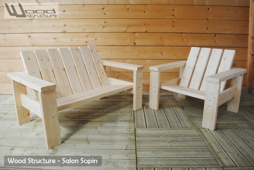 Salon de Jardin en sapin du nord - Design Wood Structure - Mobilier de jardin en kit - Skatepark - Charpente - Richelieu - France