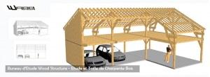 Taille Charpente Bois- Garage Ossature Bois - Bureau Etude Constructions Bois Sport et Habitat - Wood Structure