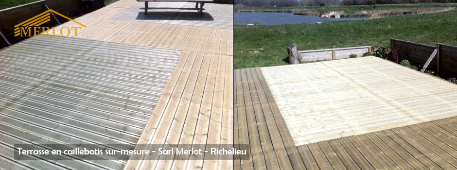 Terrasse en Caillebotis bois sur-mesure - Sapin du Nord - Douglas et Autoclave - Wood Structure - Richelieu - France