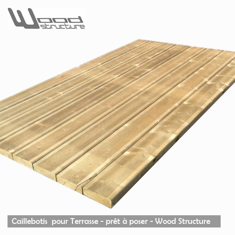 caillebotis bois pour terrasse pr t poser wood structure. Black Bedroom Furniture Sets. Home Design Ideas