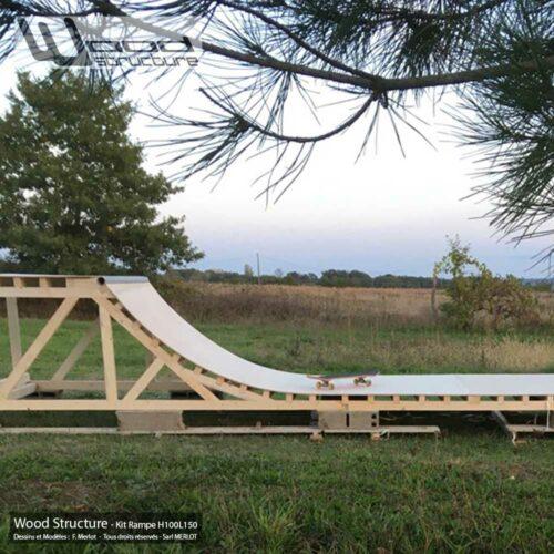 Rampe skate H100L150 - Kit mini rampe skate roller bmx trottinette - Kit prêt à monter - Wood Structure Skatepark