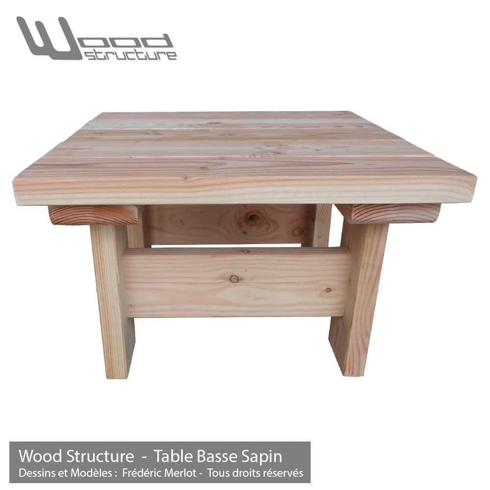 Table basse en sapin du nord -Table de jardin Wood Structure
